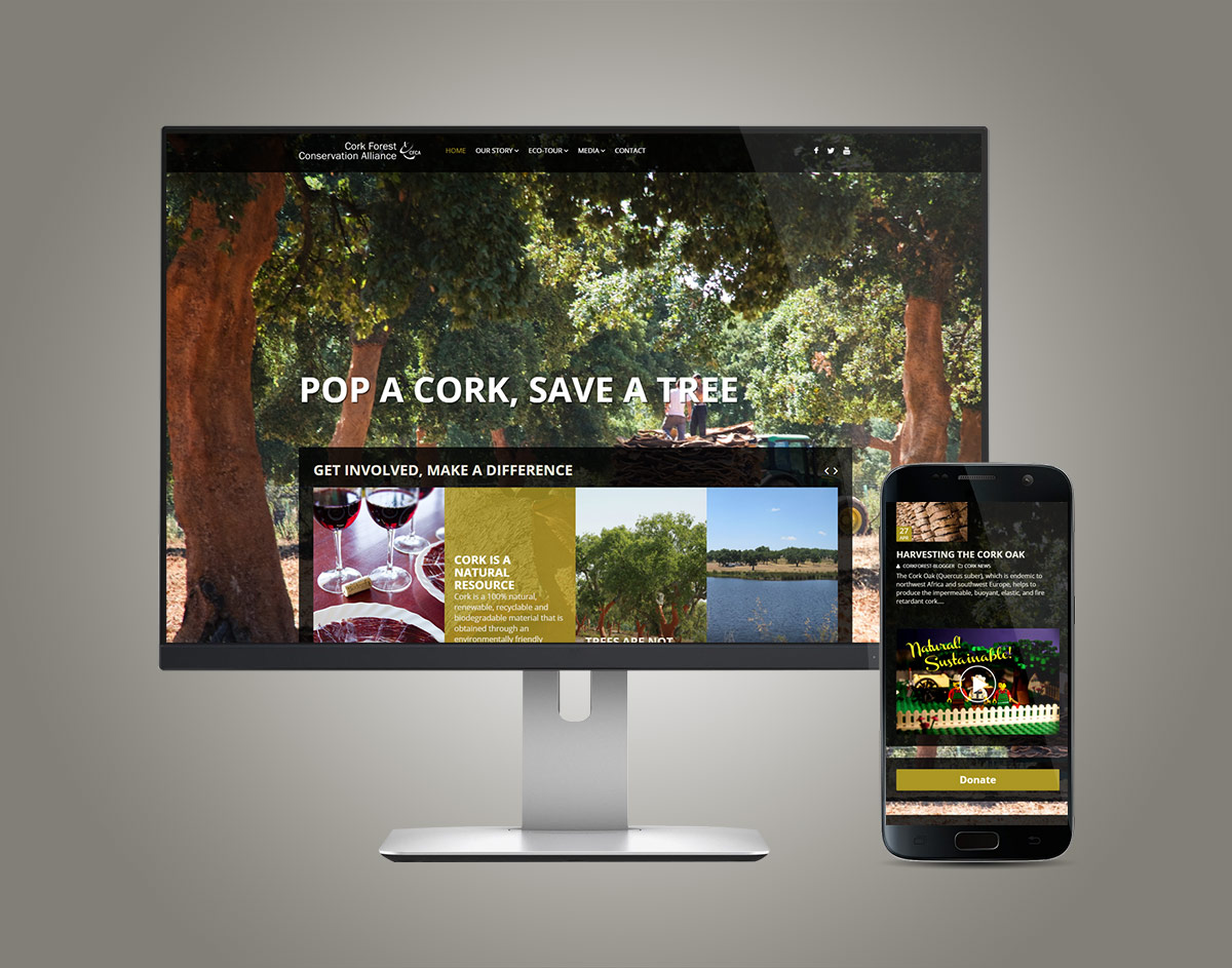 CorkForest.org Responsive WordPress Website on Desktop and Mobile