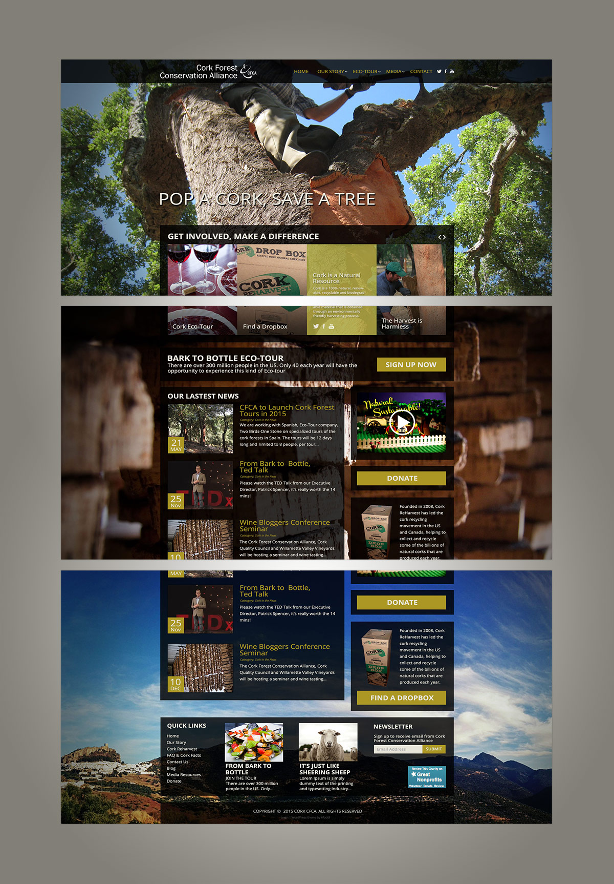 CorkForest.org Website Home Page Triptych