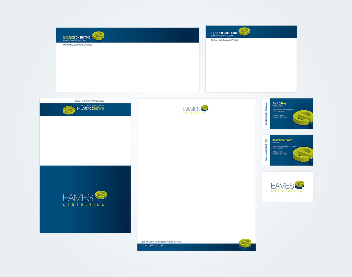 Eames Consulting Stationery Package (including Letterhead, Envelopes, Notecard, and Business Cards)