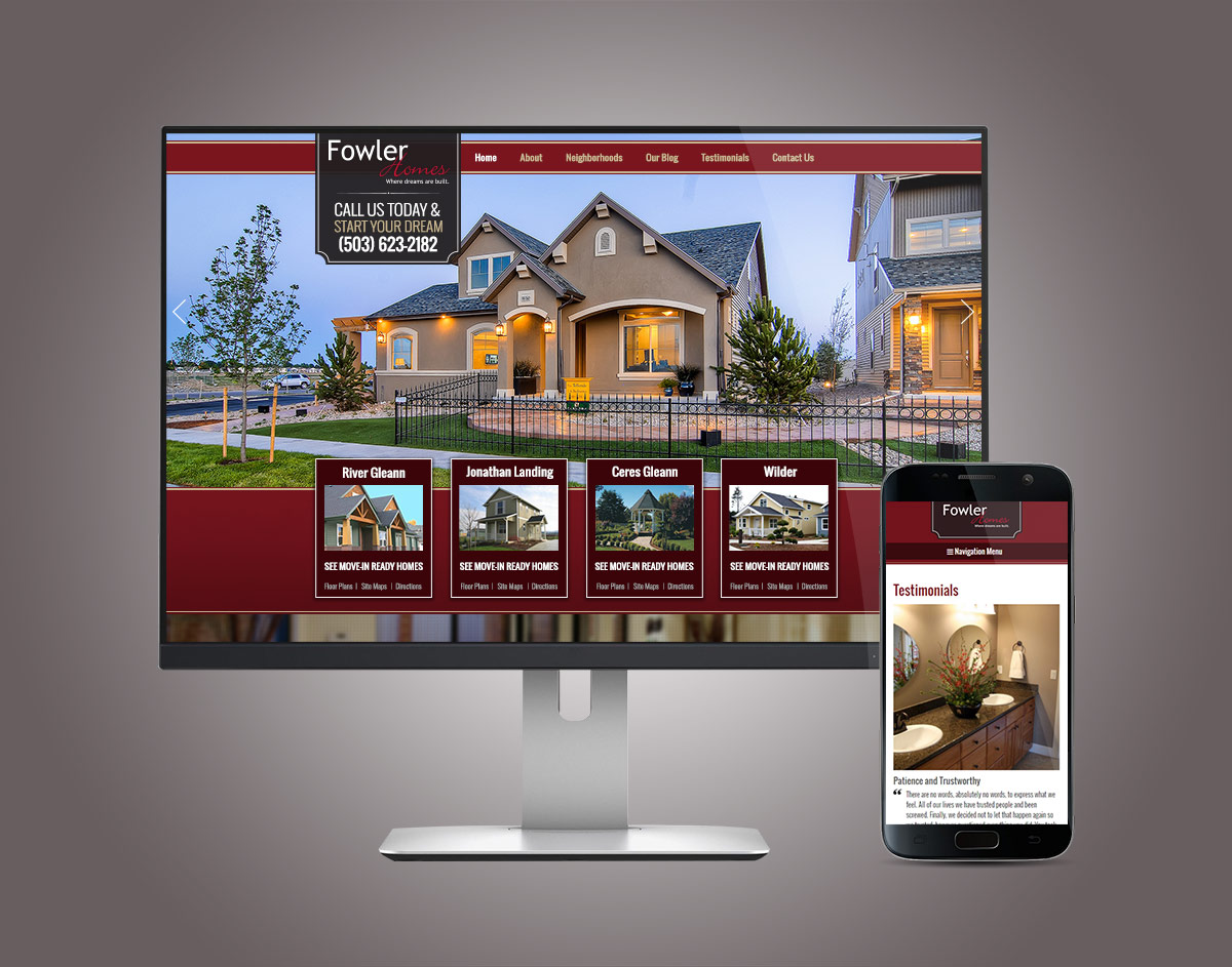FowlerHomes.com Website on Desktop and Mobile (Responsive WordPress Website Design)