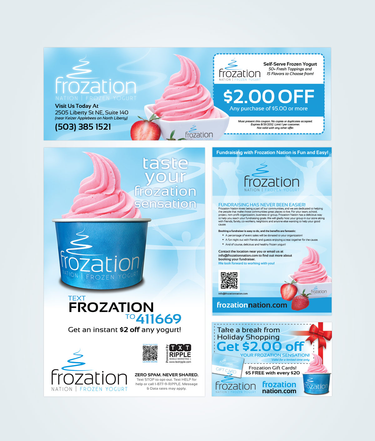 Various Frozation Nation Advertising Pieces (Print Graphic Design)