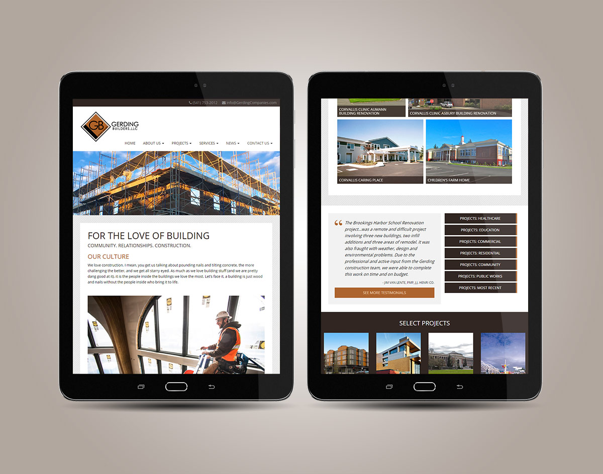 GerdingBuilders.com Responsive WordPress Website on Tablets