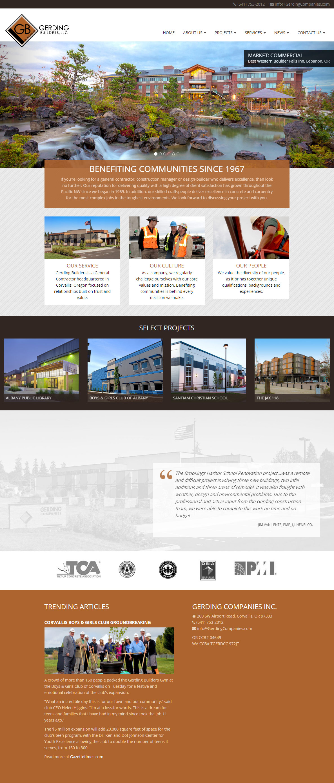 GerdingBuilders.com Website Design (Full Home Page)