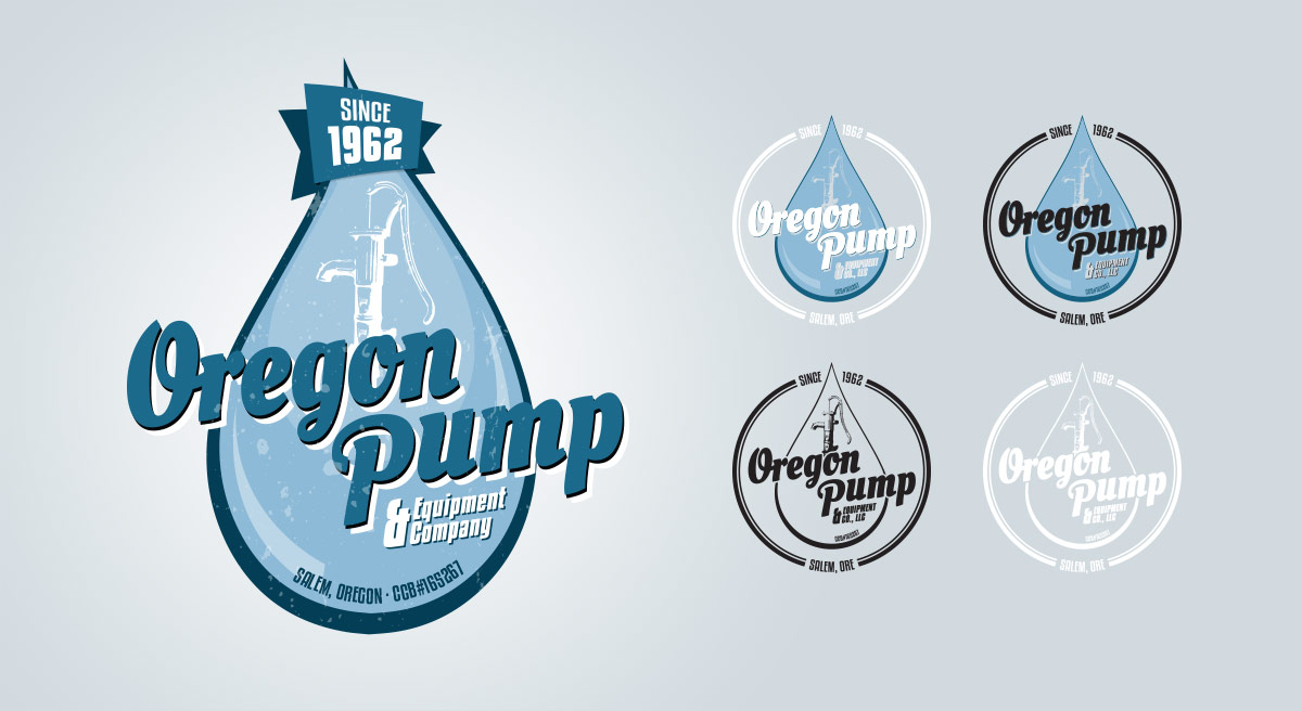 Oregon Pump & Equipment Company Logo Design: Initial Composition and Client-Selected Finals