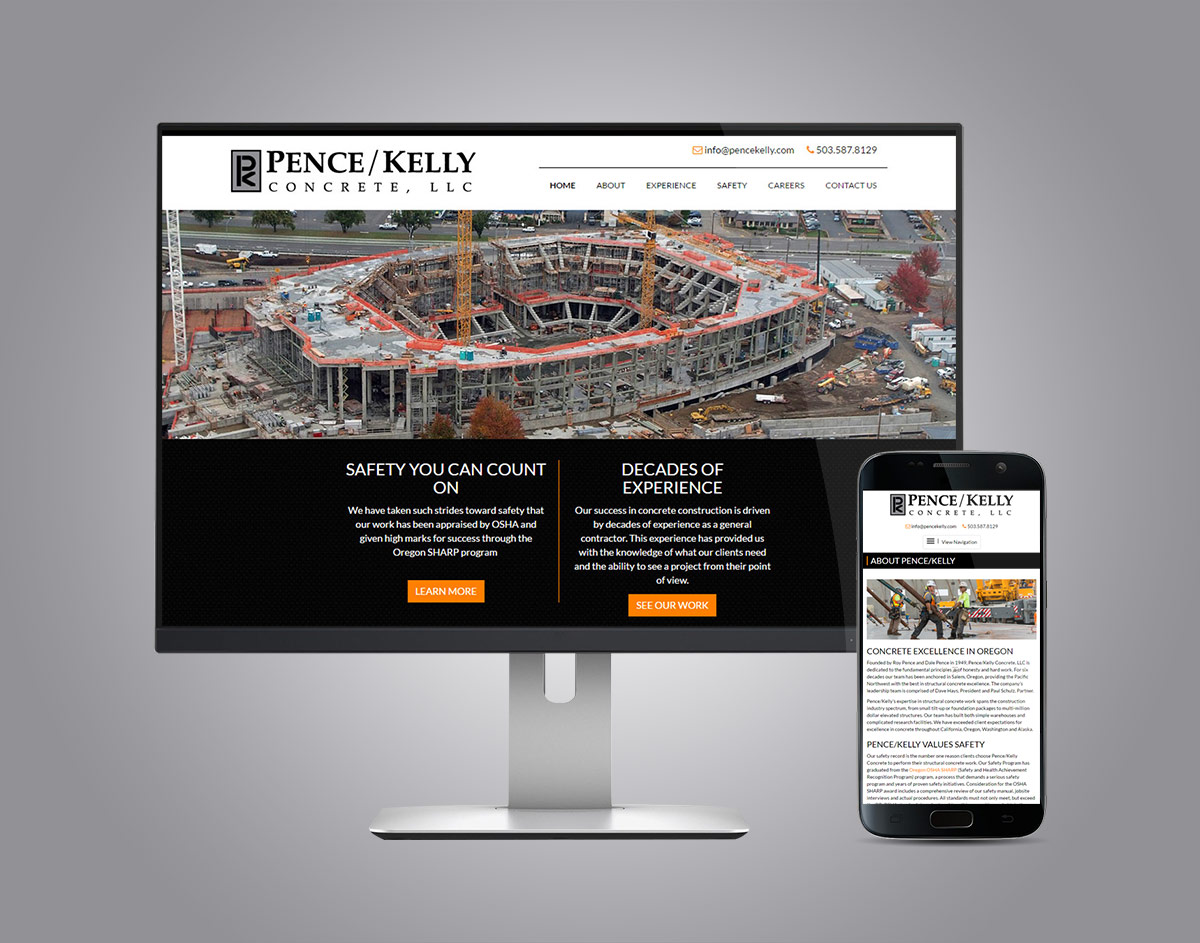 PenceKelly.com Responsive Website on Desktop and Phone