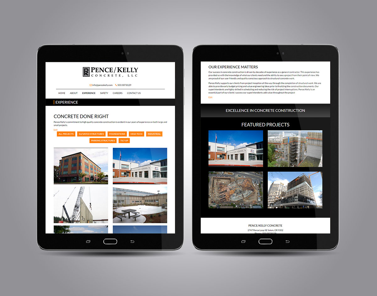 PenceKelly.com Responsive Website on Tablets
